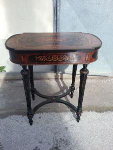 Splendido tavolino napoleone terzo tutto intarsiato da centro mogano palissandro bosso aboise de rose  l79xp40xh70 garanzia termini di legge  inserti ottone e bronzo
