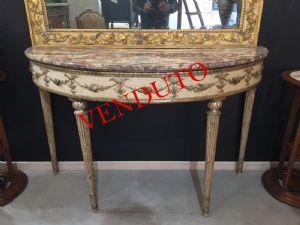 Consolle Luigi XVI in legno laccato e dorato , Napoli .