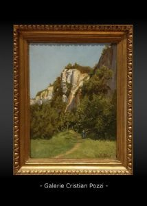 OIL ON CANVAS 800 SIGNED G.PAGET LANDSCAPE WITH DONZELLA