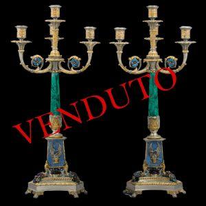 Candelabri a quattro luci in argento, malachite, smalti e pietre dure, argentiere: Stefani