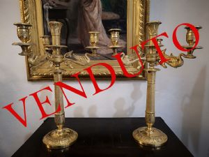 Pair of candlesticks in gilded bronze, Empire period