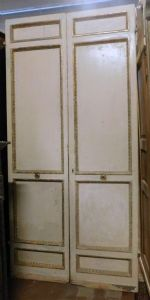 ptl487 white lacquered door with golden frames, mis. cm 126 xh 262