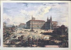 """View of San Giovanni in Laterano"" - color print - late 19th century - Piranesi engraving"