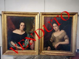 Par de pinturas interiores representando meninas, idade: 1840