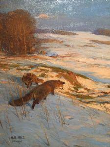 "Pintura animalier ""Raposas na paisagem de inverno"" Albert Holz (Dusseldorf 1884 - 1954)"