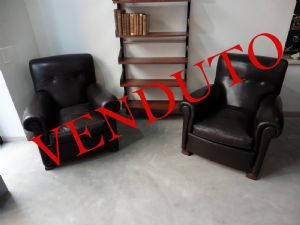 Pair of leather armchairs, Art Deco, France