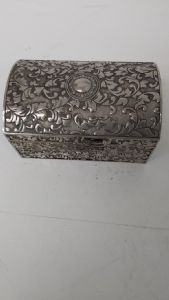 Inlaid silver plated casket