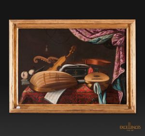 "Baschenis School, ""Still Life of Musical Instruments"", Oil on canvas"