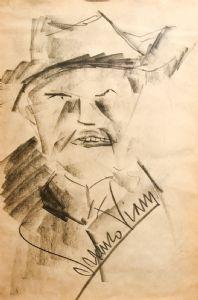 """""""Portrait"""" - Zeichnung in Kohle auf Papier von Lorenzo Viani, Zeichnung in Kohle auf Papier von Lorenzo Viani"""