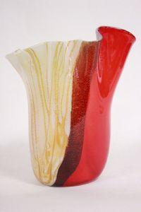 Vaso oro e rosso in originale vetro di Murano, autore E. Cammozzo