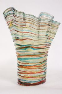 Vaso a righe colorate in originale Murano firmato E. Cammozzo