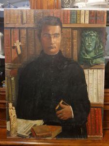 牧师的肖像画-Jules Oscar Maes France'900