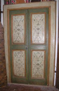 ptl270 porta laccata e dipinta epoca 700 mis.telaio cm 150x240 max