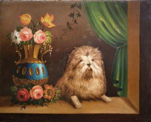 """""""Ваза с цветами с собакой"""" Картина маслом на бидермайерском холсте. Размеры 65 x 80 см."""