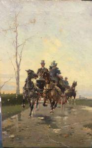 """""""La carrozza """" Alfredo Tominz ( Trieste 1854 - 1936)"""