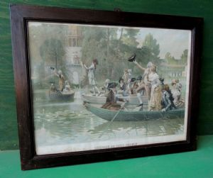watercolor print with frame from the early 1900s