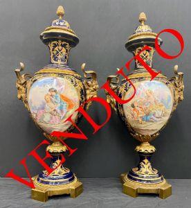 Coppia di vasi in porcellana di Sevres , epoca XIX secolo