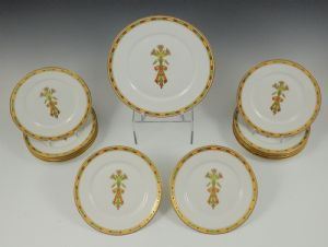 Series of twelve dessert plates and serving dish from the table set of the Kedivé of Egypt Manifattura Ginori Doccia (Florence), 1873-1876