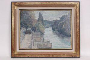 Quadro di paesaggio fluviale, olio su tela, firmato D. Recanzone