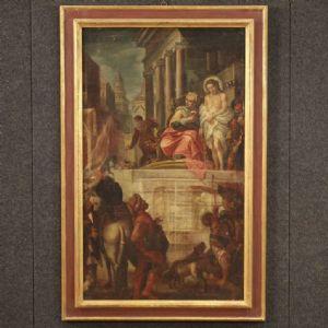 Antico dipinto italiano Gesù e Erode del XVII secolo
