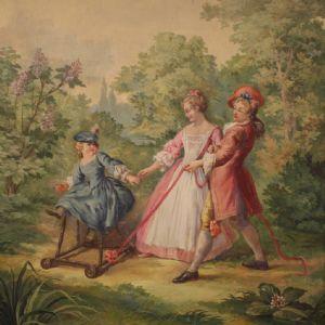 浪漫的意大利绘画在公园散步