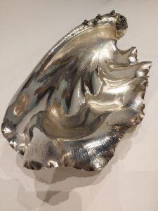 Grande conchiglia in argento e perle di malachite900