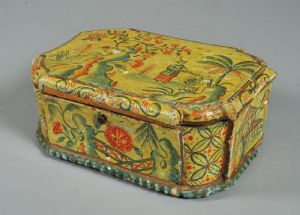 Louis XV box in lacquered wood with oriental motifs with inside landscape decoration in poor art - Venice 18th century