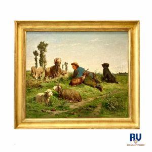 """Tiermalerei """"Herde auf der Weide"""" Albert Heinrich Brendel (1827 - 1895)"""