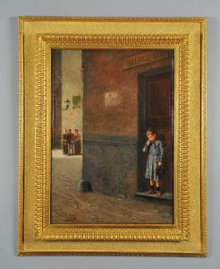 Antonio Varni: Child leaving school, signed and dated oil on canvas