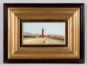 Canale - Gioacchino Gamberini, oil on cardboard signed lower left