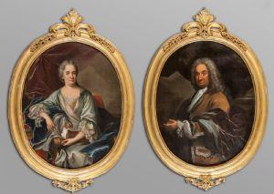 Dama con cagnolino e Gentiluomo con mantello di velluto oli di forma ovale, Scuola genovese fine secolo XVIII