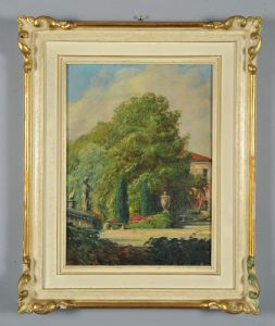 Berto Ferrari: In the park of Villa Rossi (Cà Cornaro) in Bassano del Grappa, oil on canvas