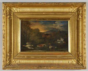 Escuela genovesa del siglo XVIII - Fauna de los pantanos, óleo sobre lienzo en marco dorado