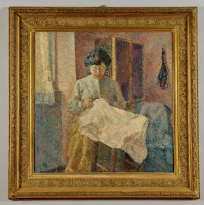 The seamstress - Alberto Helios Gagliardo, oil on canvas signed lower left and dated 1912