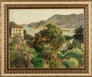 Carlo Prada - 拉帕洛的景色,右下角有油标