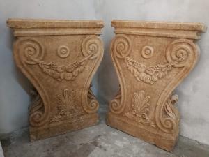 2个维罗纳大理石底座,适合用来形成餐桌(78.5 x 18 x 55厘米)