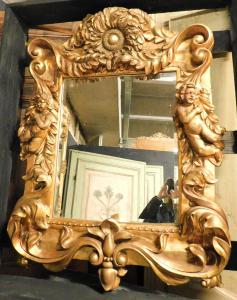 specc228 - lacquered and gilded mirror, size cm l 84 xh 108