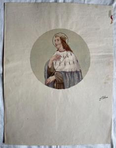 Aquarellstiftzeichnung auf Pappe, die ein Tondo mit der Figur des Königs Arturo Pietra, Bologna darstellend darstellt