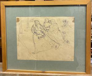 Disegno penna su carta - attribuzione Lorenzo Viani