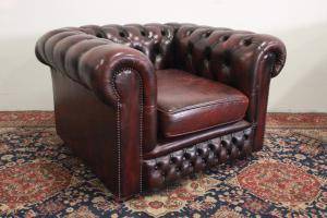 POLTRONA CHESTERFIELD / CHESTER CLUB IN PELLE BORDEAUX ORIGINALE INGLESE