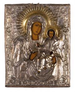 Icon depicting the Madonna with Child, Painting on board, Riza in embossed silver-plated copper, 19th century