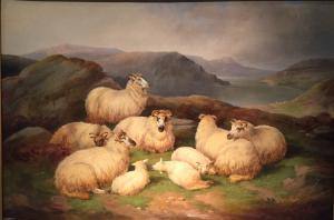 "Pintura de animais ""Ovelhas nas terras altas"" Richard Ansdell (Liverpool 1815-1885)"