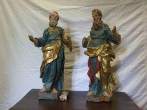 Pair of polychrome wooden saints.