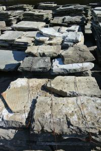 Block of ancient slabs with walking fossils