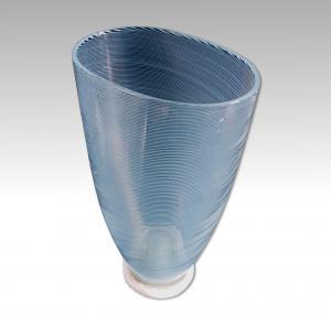 Dino Martens para Aureliano Toso, jarrón de cristal de Murano de media filigrana