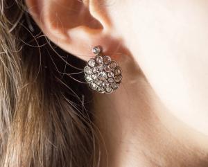 Antike Ohrringe aus Weißgold mit Diamanten im Rosenschliff (4 ct), Anfang des 20. Jahrhunderts