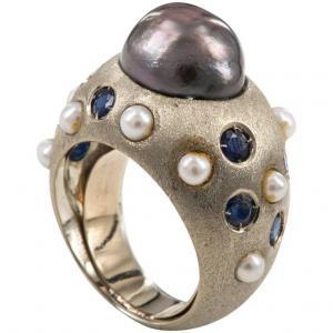 Lindo anel com pérola negra