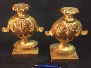 Pair of Louis Philippe gold-plated rosewood holders