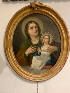 Antico dipinto del XVIII secolo raffigurante La Madonna e Sant' Anna . Scuola romana XVIII secolo