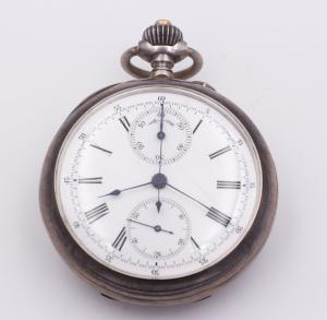 Pocket chronograph in late 19th century silver